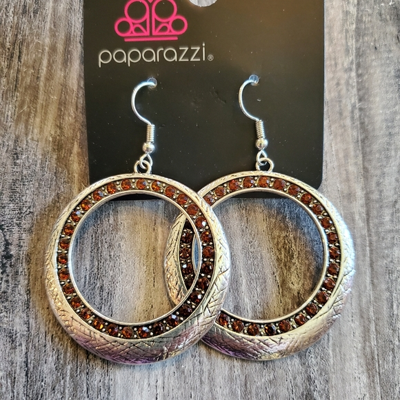 Paparazzi silver red circle earrings NEW